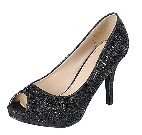 Cambridge Select Women's Peep Toe Crystal Rhinestone Beaded Stiletto High Heel Dress Pump (9 B(M) US, (Black High Heel Mid Platform)