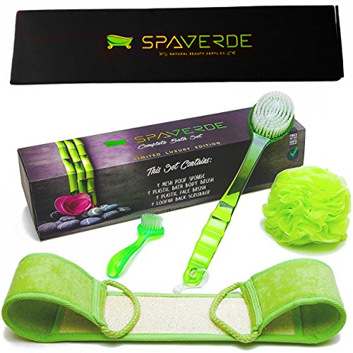 Shower Kit Brush (Bath Brush, Loofah Body Scrubber, Mesh Sponge & Face Brush - Body Brush, Shower Brush For Back with Long Handle, Loofah Back Scrubber and Mesh Pouf Bath Sponge Kit -)