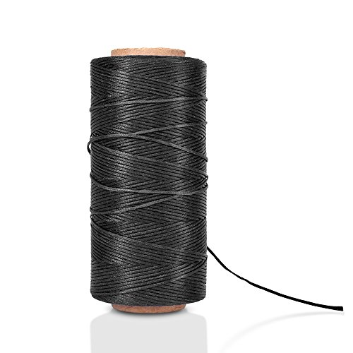 Flat Waxed Thread (Black) - 284Yard 1mm 150D Wax String Cord Sewing Craft Tool Portable for DIY Handicraft Leather Products Beading Hand Stitching
