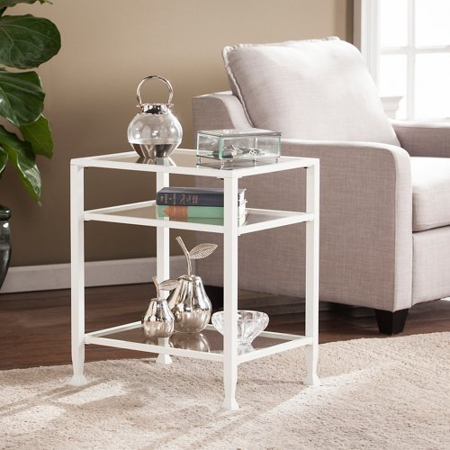 White Glass Chimney (Southern Enterprises Jaymes Glass Top Metal End Table in White)