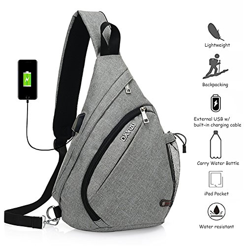 Peicees Sling Backpack, Sling Bag Crossbody Daypack Casual Canvas Backpack Chest Bag Rucksack for Men and Women Outdoor Cycling Hiking Travel(Gray)