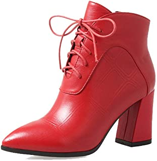 ZPEDY Chaussures pour Femmes, Style Européen Et Américain, Pointu, Dentelle, Tendance, Talons Hauts, Bottines