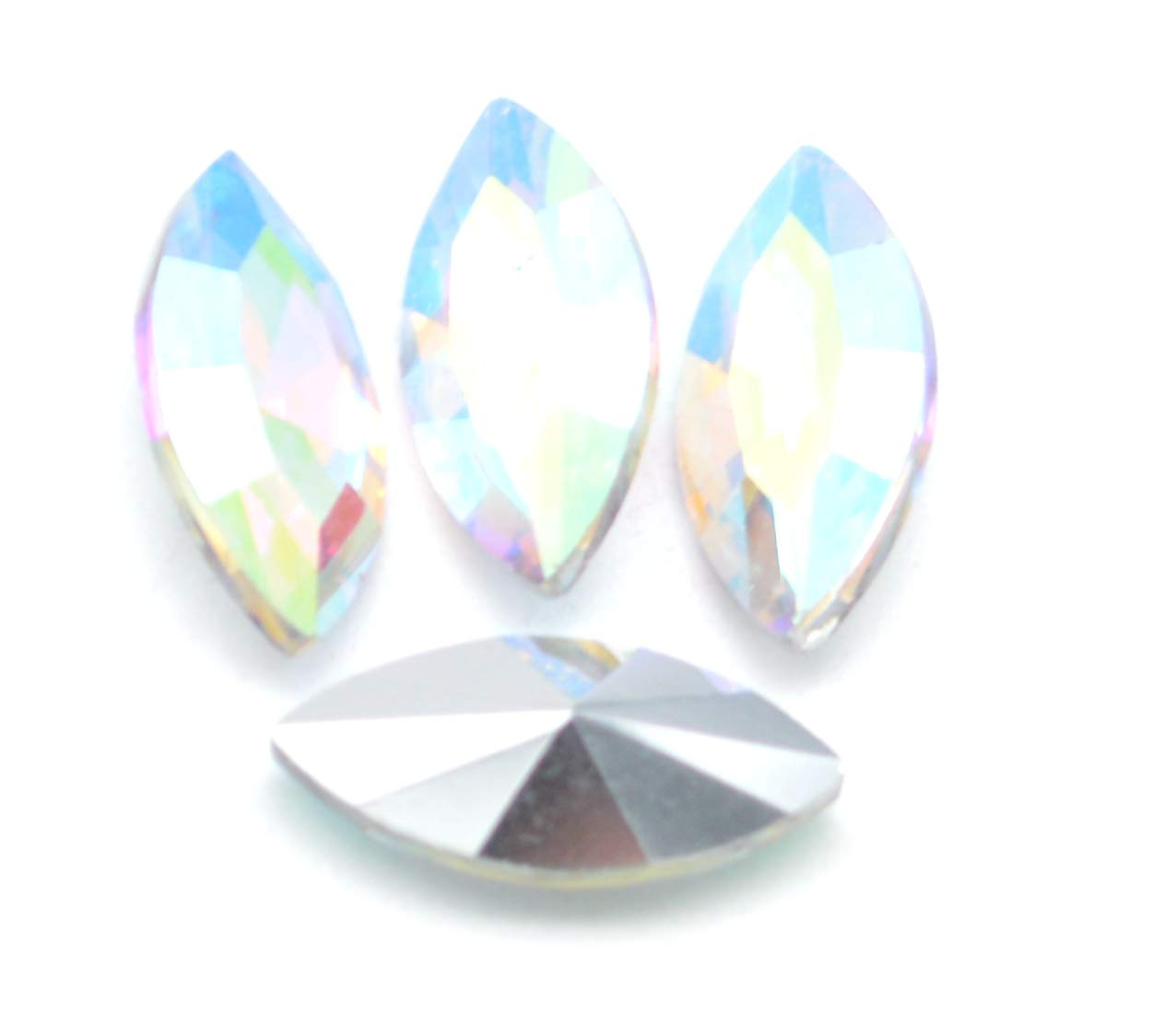 Catotrem Horse Eye Shape Crystal Clear Glass Rhinestones Pointback Fancy Stones Inlay for Necklace Wedding Dress Decorations7x15mm 50pcs-White