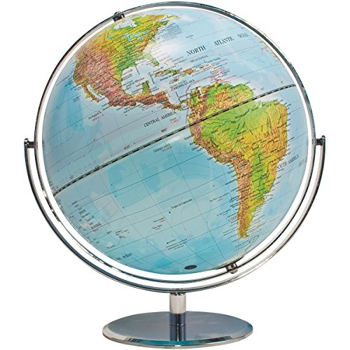 ADVANTUS Physical and Political 12-Inch World Globe, Silver Metal Desktop Base - Desk Advantus