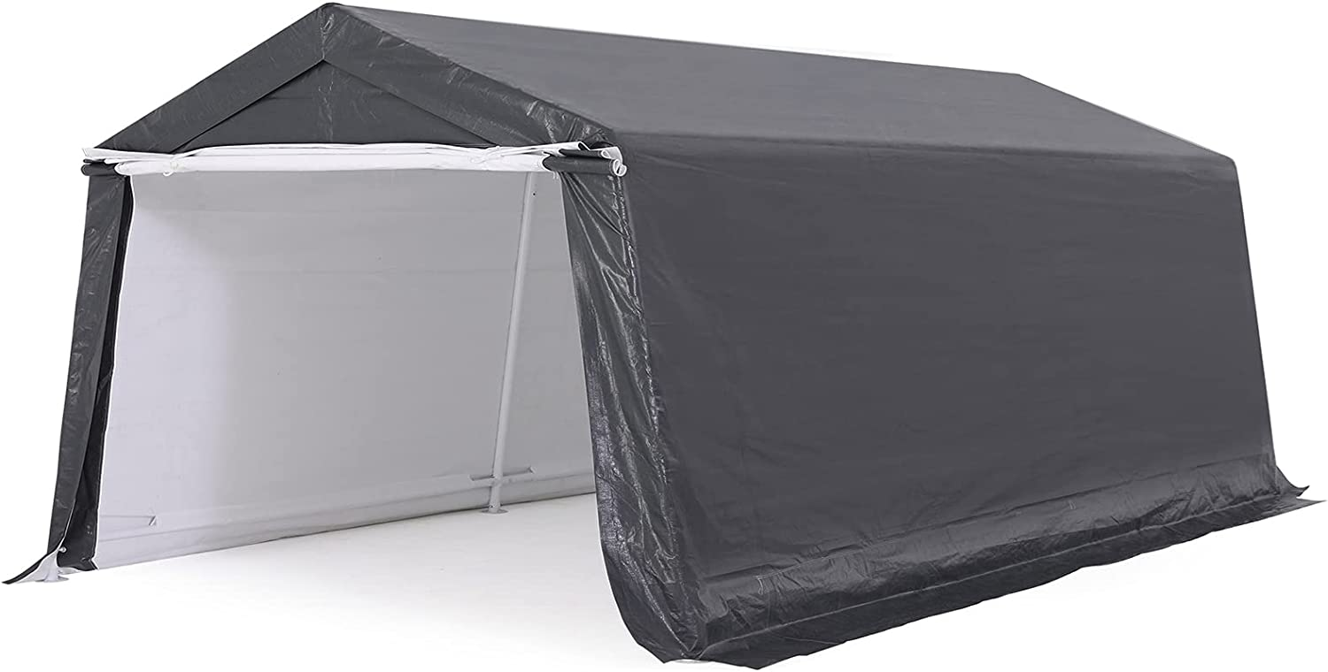 ABCCANOPY Outdoor Storage Shelter, Portable Storage Shed for Motorcycle Bike Garden Storage (10x10, Gray)
