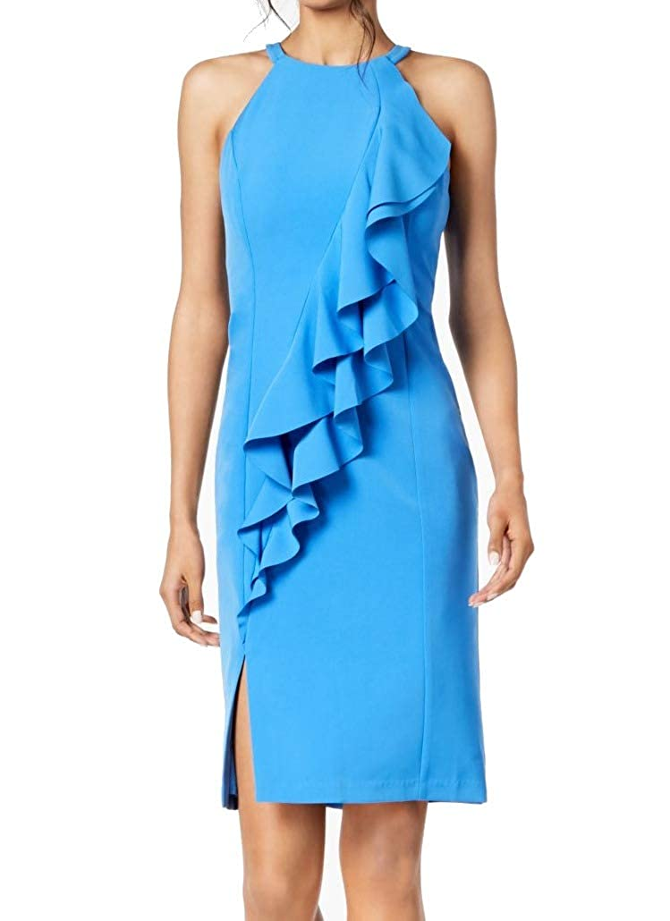 bluee Vince Camuto Womens Short Ruffled Sheath Dress