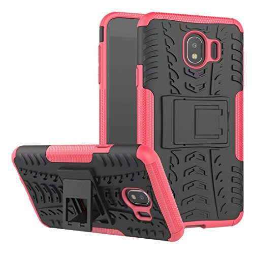 Case for Samsung Galaxy J4 J400M/DS Cellphone Protective Cases Durable Detachable Shockproof Dual-Layer Soft Silicone TPU and Hard PC Shell with Foothold Stand Sturdy Durable - Rose