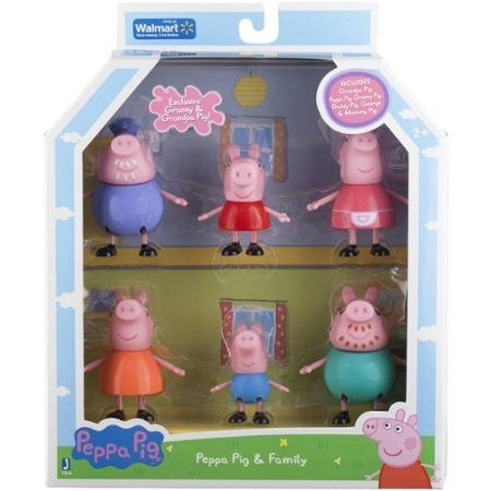 Peppa Pig, Family Figures, 6- Pack Includes Peppa, Granny Pig, Grandpa Pig, Daddy Pig, Mummy Pig and George Peppa Pig Grandpa Pigs
