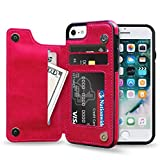 Cheap ZUSLAB iPhone 8 / iPhone 7 Case,Slim Leather Flip Back Wallet Cover with Credit Card Cash Slot for Apple iPhone 8 / iPhone 7 (Hot Pink)