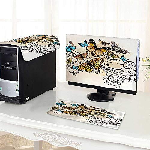 Monarch Pc Desktop Computer - Auraisehome Computer dust Cover Monarch Butterflies Vintage Damask Ombre Background dust Cover 3 Pieces Set /19