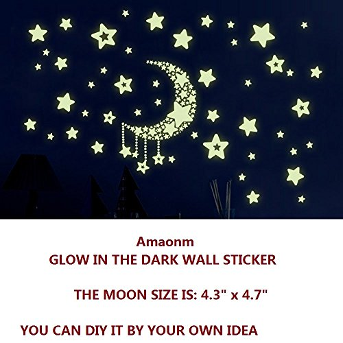 Amaonm Removable DIY Glow in The Dark Luminous Light Moon Stars Wall Decals Stickers Home Art Decor Wall Decorative for Girls Babys Bedroom Study Room Play Room Tv Background Wall Decorations