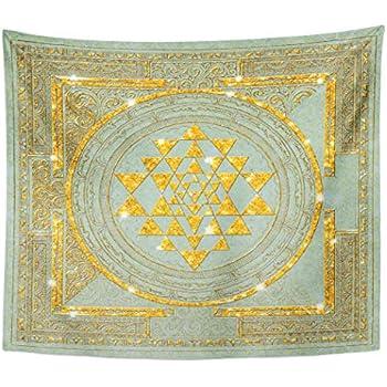 Semtomn Tapestry Artwork Wall Hanging Yoga Sri Yantra Wrapped Meditation Chakras Spirituality India Mandala 50x60 Inches Tapestries Mattress Tablecloth Curtain Home Decor Print
