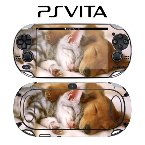 Sleeping Puppy Kitty Animal Decorative Video Game Decal Cover Skin Protector for Sony PlayStation PS Vita
