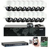 GW Security 16CH 1080P NVR Network IP Security Camera System – 16 x HD 1080P 5.0 Megapixel 2.8~12mm Varifocal Zoom 80ft IR PoE IP Dome Camera + 4TB Hard Drive + 16 Ports PoE Switch – Support ONVIF P2P Quick QR Code Remote Access Review