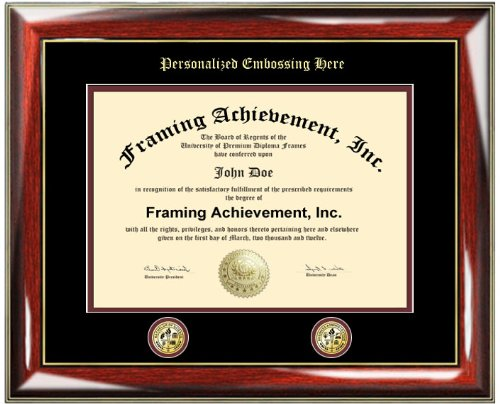 Personalized Gold Emboss University Matted Diploma Frame with Two Double Gold Seal Insignia Logos - Glossy Prestige Mahogany with Gold Accents College Graduation Gift Diploma Frame - University Certificate Matted Frame - Top mat (Black) Inner mat (Maroon)