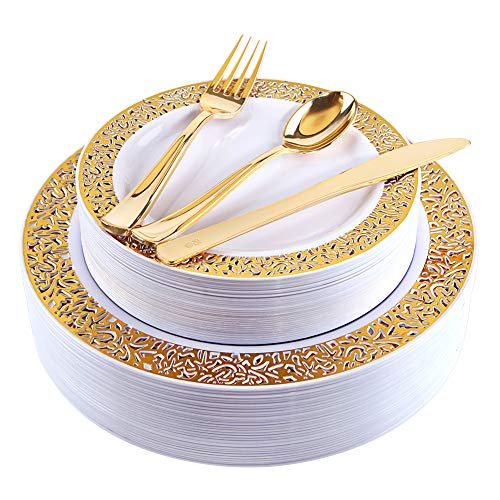 Gold Plastic Plates with Gold Plastic Silverware, Lace Design Plastic Plates, Disposable Party Plates Include 30 Dinner Plates, 30 Salad Plates, 30 forks, 30 knives, 30 spoons (gold) ()