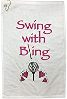 Giggle Golf Par 3 - Swing with Bling Towel, Tee Bag and Bling Ball Marker with Hat Clip - Perfect Golf Gift for Women