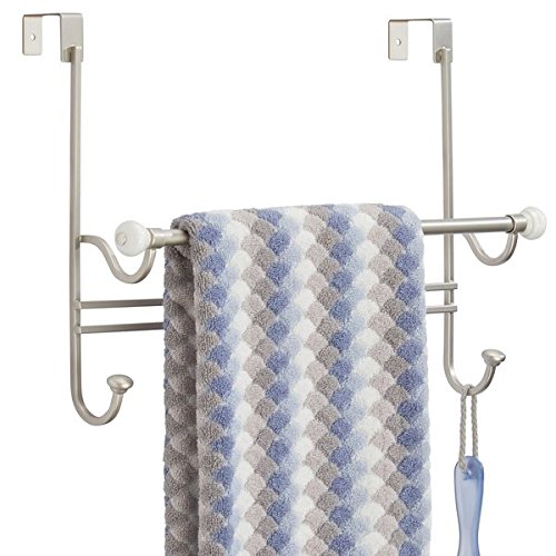 mDesign Over Shower Door Bathroom Towel Bar Rack with Hooks - Satin/White by mDesign