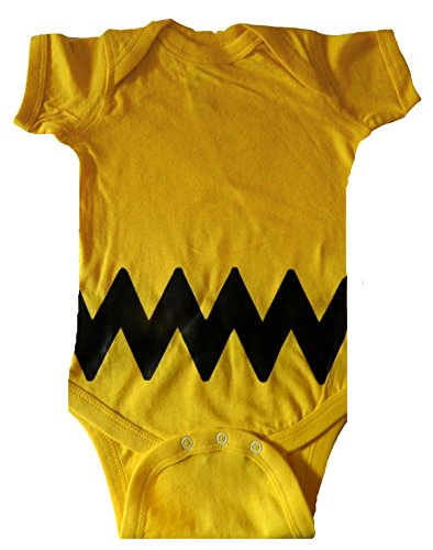 Custom Kingdom Baby Boys/Girls Peanuts Charlie Brown Bodysuit (12 Months, Yellow) -