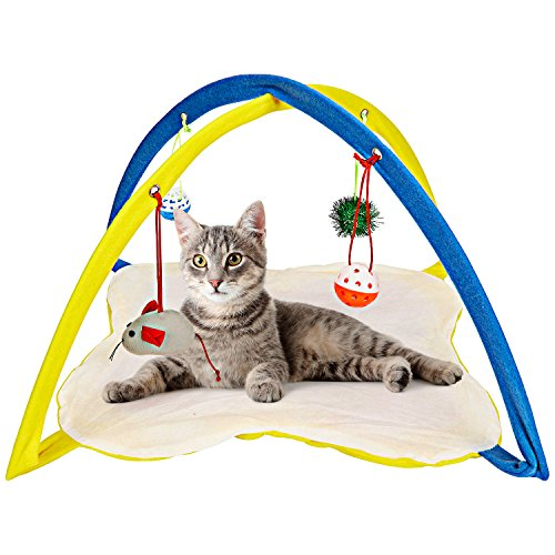 Animals Favorite Cat Play Mat, Cat Tent Activity Center with Hanging - Entertainment Mobile