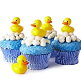 (24) Baby Shower Cupcake Picks Toppers Kit - (24) Rubber Ducky Picks (30) Light Blue Foil Cupcake Liners (4 oz) Blue Sugar Sprinkles