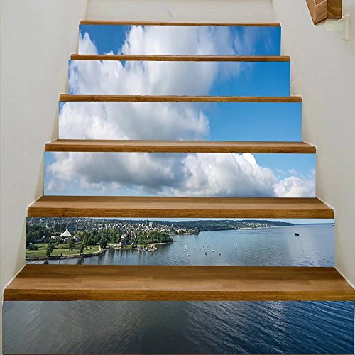 vanfan 3D Creative blue sky with white clouds and ocean views on english bay west end vancouver bc canad DIY Refurbished Stairs Stickers Removable Waterproof Stairs Mural(39.3