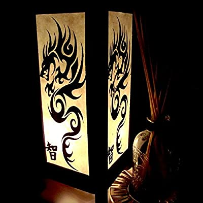 Chinese Black Dragon Table Lamp Lighting Shades Floor Desk Outdoor Touch Room Bedroom Modern Vintage Handmade Asian Oriental Wood LED Bedside Gift Art Home Garden Christmas; Free Adapter; Us 2 Pin Plug #96