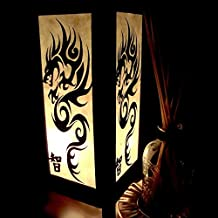 Dark Black Fire Dragon Handmade Asian Oriental Wood Light Night Lamp Shade Table Desk Art Gift Home Vintage Bedroom Bedside Garden Living Room; Free Adapter; Canada Plug Only #158