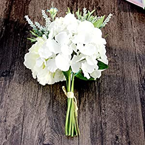 Juesi Floral Wedding Bouquet, 6 Heads Silk Fake Peony Hydrangea with Stems Artificial Flowers for Wedding Party Home Hotel Restaurant Patio Yard Decor 119