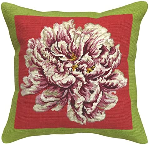 123 Creations C915A.20×20 Peony Needlepoint Pillow, 20 W x 20 H