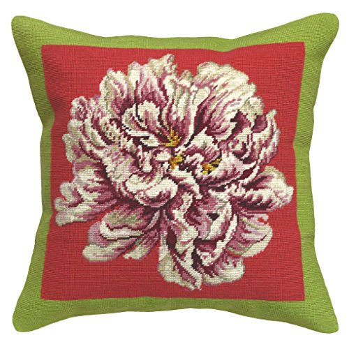 123 Creations C915A.20x20 Peony Needlepoint Pillow, 20
