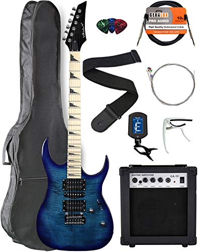 Vault RG1-E Transparent Blue Electric Guitar with Maple Neck Bundle with Gig Bag, 10w Amp, Strap, Tuner, Strings, Instrument Cable, Capo, and Picks