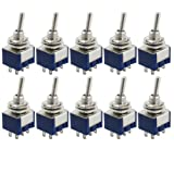 SODIAL(R) 10 Pcs AC 125V 6A Amps ON/ON 2 Position DPDT Toggle Switch