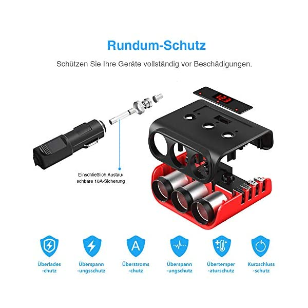 Auto Ladegerät Adapter, SONRU 3 Fach KFZ Zigarettenanzünder Verteiler mit 4 USB Ports, 120W 12V/24V DC Mehrfach…