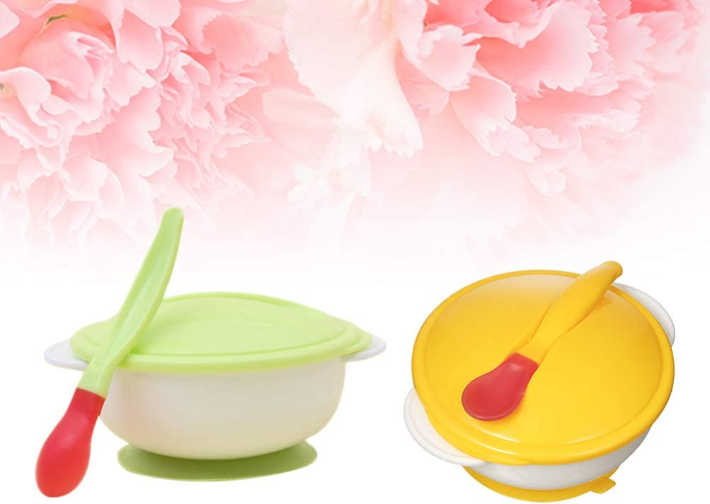 Healifty 2 Sets Baby Suction Cup Bowls Set with Sensing Spoon and Lids Baby Feeding Tableware for Kids Green and White//Yellow and White