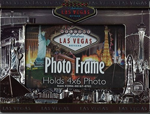 Las Vegas GRAY SKYLINE 2-D VINTAGE LOOK PICTURE FRAME (HOLDS ONE HORIZONTAL 4 X 6 PHOTO)