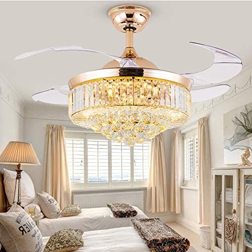 42 inch Modern Luxury Rose Gold Crystal Ceiling Fans with Lights, 3 Color Changes Chandelier Fan Lighting with Retractable Blades for Living Dining Room Bedroom Hotel Restaurant