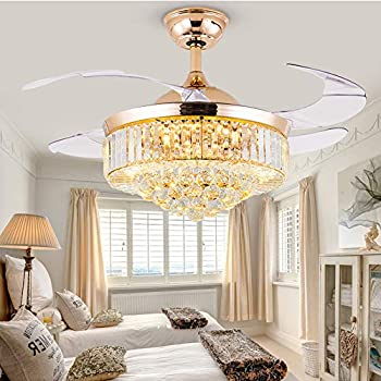 42 inch Crystal Ceiling Fans with Lights and Remote