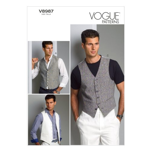 Vogue Patterns V8987MUU Men's Vest Sewing Template, Size MUU (34-36-38-40)