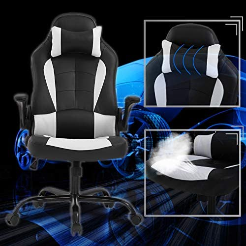 BestOffice PC Gaming Chair Ergonomic Office Chair Desk Chair with Lumbar Support Flip Up Arms Headrest PU Leather Executive High Back Computer Chair for Adults Women Men, Black and White 51ynicxSpbL