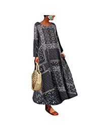 RollingBronze Cotton and Linen Dresses, Spring Long-Sleeved Dresses, Long Loose Dresses,Women Long Sleeves Dress Floral Print Oversize Long Loose Casual Dress for Spring.
