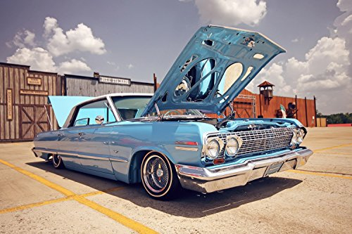 Chevrolet Impala Blue Retro Muscle Car Lowrider Poster