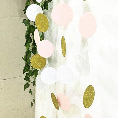 Paper garland merrynine 5 pack 50ft hanging glitter paper for Gold dot garland