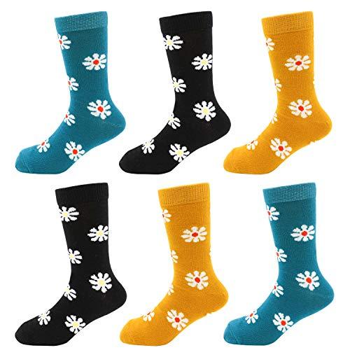 IMOZY Crew Socks for Girls- Lovely Daisy Flowers Cotton Dress & Trouser Socks- 6 Pack Girls' Fashion Novelty Socks- Sock 4-6Years/ Shoe 10.5-13.5 for Little Girls