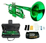 Merano B Flat GREEN / Silver Trumpet with Case+Mouth Piece+Valve Oil+Metro Tuner