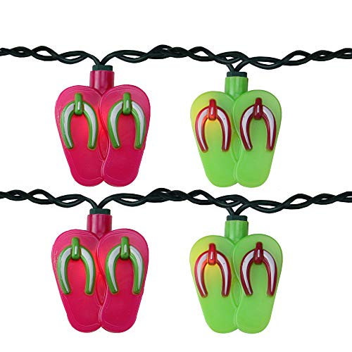 Keystone Set of 10 Pink and Green Beach Party Sandal Patio Novelty Lights- 8ft Green Wire -