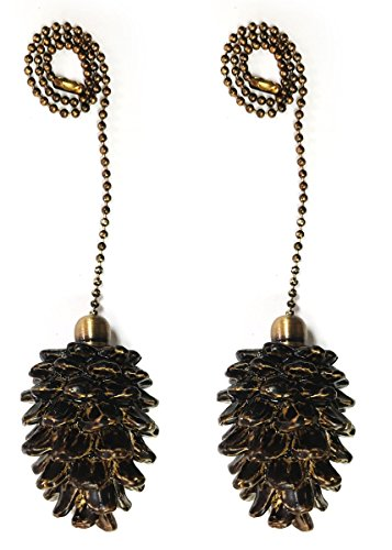 Royal Designs Fan Pull Chain - Pine Cone - Antique Brass - Set of 2