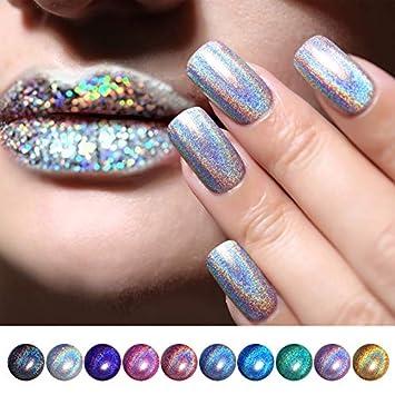 Amazon.com: BORN PRETTY holographic Nail Polish Glitter Polish Nail ...