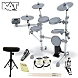 KAT Percussion JF-KT1-KIT-02 KT1 Digital Drum Set with Headphones, Cables, Drum Throne, Foot Pedal, 5A Drumsticks and GoDpsMusic Polish Cloth