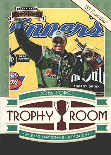(John Force trading card (Auto Racing) 2011 Press Pass Trophy Room 132 Career Wins)